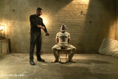 Photo number 1 from The Terrorist's Ransom shot for Bound Gods on Kink.com. Featuring Andrew Justice and Dirk Caber in hardcore BDSM & Fetish porn.
