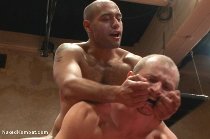 Photo number 12 from Last Semifinal Match of Naked Kombat's Summer Smackdown Tournament!  shot for Naked Kombat on Kink.com. Featuring Leo Forte and Randall O'Reilly in hardcore BDSM & Fetish porn.