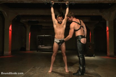 Photo number 1 from Huge cock boy bound, beaten and fucked  shot for Bound Gods on Kink.com. Featuring Connor Maguire and Mike de Marko in hardcore BDSM & Fetish porn.