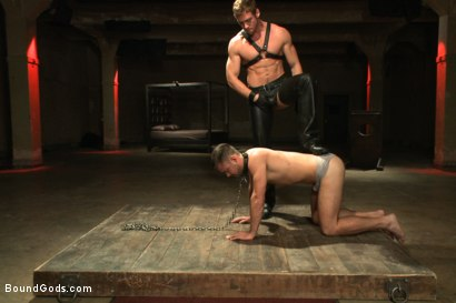 Photo number 2 from Huge cock boy bound, beaten and fucked  shot for Bound Gods on Kink.com. Featuring Connor Maguire and Mike de Marko in hardcore BDSM & Fetish porn.