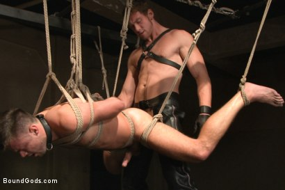 Photo number 12 from Huge cock boy bound, beaten and fucked  shot for Bound Gods on Kink.com. Featuring Connor Maguire and Mike de Marko in hardcore BDSM & Fetish porn.