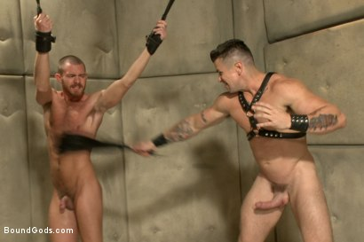 Photo number 8 from Muscled pervert turns his captive stud into a sex slave  shot for Bound Gods on Kink.com. Featuring Jordan Foster and Trenton Ducati in hardcore BDSM & Fetish porn.