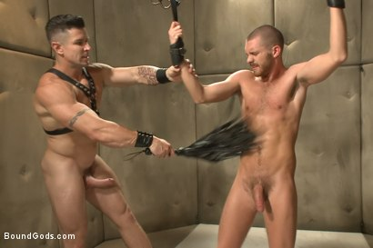 Muscled pervert turns his captive stud into a sex slave