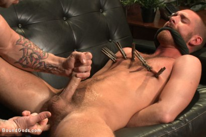 Photo number 3 from Muscled pervert turns his captive stud into a sex slave  shot for Bound Gods on Kink.com. Featuring Jordan Foster and Trenton Ducati in hardcore BDSM & Fetish porn.