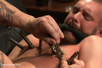 Photo number 1 from Muscled pervert turns his captive stud into a sex slave  shot for Bound Gods on Kink.com. Featuring Jordan Foster and Trenton Ducati in hardcore BDSM & Fetish porn.