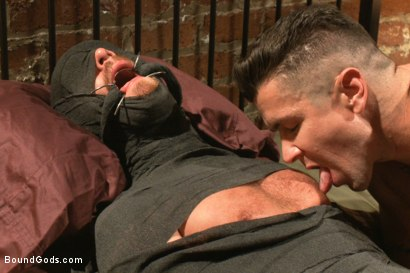Photo number 10 from Muscled pervert turns his captive stud into a sex slave  shot for Bound Gods on Kink.com. Featuring Jordan Foster and Trenton Ducati in hardcore BDSM & Fetish porn.