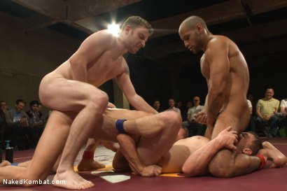 Photo number 7 from The Summer Smackdown Tournament Finale - Live Audience Tag Team Bout! shot for Naked Kombat on Kink.com. Featuring Leo Forte, Doug Acre, Randall O'Reilly and Sebastian Keys in hardcore BDSM & Fetish porn.