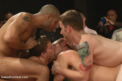 Photo number 9 from The Summer Smackdown Tournament Finale - Live Audience Tag Team Bout! shot for Naked Kombat on Kink.com. Featuring Leo Forte, Doug Acre, Randall O'Reilly and Sebastian Keys in hardcore BDSM & Fetish porn.