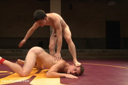 """Photo number 12 from Tyler """"The Terror"""" Sweet vs Holden """"The Fearless"""" Phillips shot for Naked Kombat on Kink.com. Featuring Tyler Sweet and Holden Phillips in hardcore BDSM & Fetish porn."""