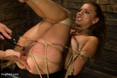 Photo number 8 from Horny Little Latin Fuck Overpowered by Orgasms and Bondage shot for Hogtied on Kink.com. Featuring Luna Light in hardcore BDSM & Fetish porn.