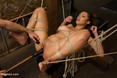 Photo number 12 from Unfuckingbelievable Soaking Wet Squirting Snatch and Huge Natural Tits shot for Hogtied on Kink.com. Featuring Serena Ali in hardcore BDSM & Fetish porn.
