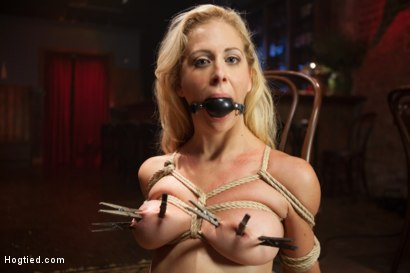 Photo number 13 from Gorgeous Big Tit Blonde Gets Fucked HARD in Tight Bondage shot for Hogtied on Kink.com. Featuring Cherie DeVille and Maestro in hardcore BDSM & Fetish porn.