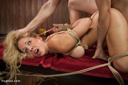 Photo number 9 from Gorgeous Big Tit Blonde Gets Fucked HARD in Tight Bondage shot for Hogtied on Kink.com. Featuring Cherie DeVille and Maestro in hardcore BDSM & Fetish porn.