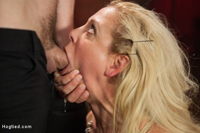 Photo number 3 from Gorgeous Big Tit Blonde Gets Fucked HARD in Tight Bondage shot for Hogtied on Kink.com. Featuring Cherie DeVille and Maestro in hardcore BDSM & Fetish porn.