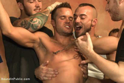 Photo number 5 from Bathhouse whore tormented and gang banged by a horny crowd shot for Bound in Public on Kink.com. Featuring Christian Wilde, Connor Patricks and Jessie Colter in hardcore BDSM & Fetish porn.
