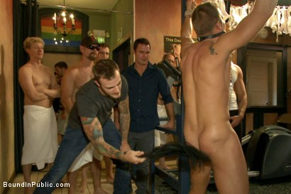 Photo number 6 from Bathhouse whore tormented and gang banged by a horny crowd shot for Bound in Public on Kink.com. Featuring Christian Wilde, Connor Patricks and Jessie Colter in hardcore BDSM & Fetish porn.