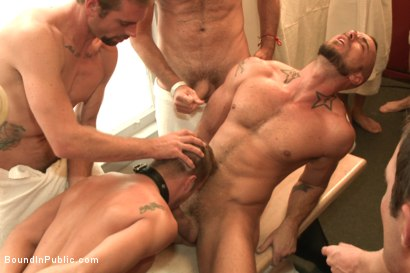Photo number 8 from Bathhouse whore tormented and gang banged by a horny crowd shot for Bound in Public on Kink.com. Featuring Christian Wilde, Connor Patricks and Jessie Colter in hardcore BDSM & Fetish porn.