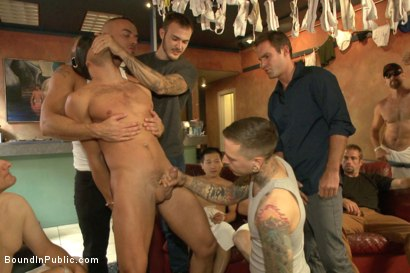Photo number 3 from Bathhouse whore tormented and gang banged by a horny crowd shot for Bound in Public on Kink.com. Featuring Christian Wilde, Connor Patricks and Jessie Colter in hardcore BDSM & Fetish porn.