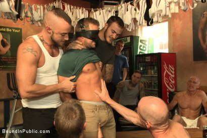 Photo number 1 from Bathhouse whore tormented and gang banged by a horny crowd shot for Bound in Public on Kink.com. Featuring Christian Wilde, Connor Patricks and Jessie Colter in hardcore BDSM & Fetish porn.