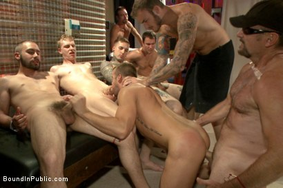 Photo number 2 from Hot ripped stud tormented and gang fucked at local sex club  shot for Bound in Public on Kink.com. Featuring Christian Wilde, Connor Patricks and Jessie Colter in hardcore BDSM & Fetish porn.