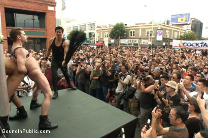 Photo number 2 from Sexy stud Cameron Kincade - The Folsom Street Whore shot for Bound in Public on Kink.com. Featuring Connor Maguire, Cameron Kincade and Jessie Colter in hardcore BDSM & Fetish porn.