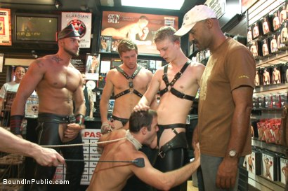 Photo number 8 from Sexy stud Cameron Kincade - The Folsom Street Whore shot for Bound in Public on Kink.com. Featuring Connor Maguire, Cameron Kincade and Jessie Colter in hardcore BDSM & Fetish porn.