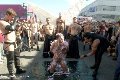 Photo number 5 from Folsom Street Whore tormented in front of thousands of people   shot for Bound in Public on Kink.com. Featuring Connor Maguire, Cameron Kincade and Jessie Colter in hardcore BDSM & Fetish porn.