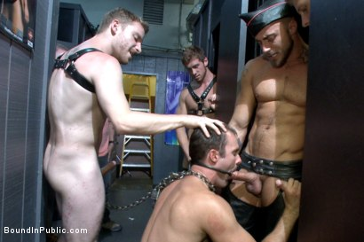 Photo number 9 from Folsom Street Whore tormented in front of thousands of people   shot for Bound in Public on Kink.com. Featuring Connor Maguire, Cameron Kincade and Jessie Colter in hardcore BDSM & Fetish porn.