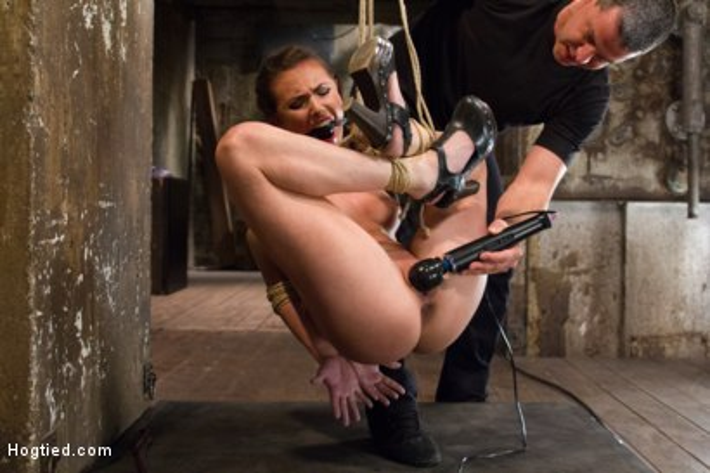 Photo number 2 from Porn Starlet Endures Crazy Orgasms in Brutal Bondage Positions shot for Hogtied on Kink.com. Featuring Casey Calvert in hardcore BDSM & Fetish porn.