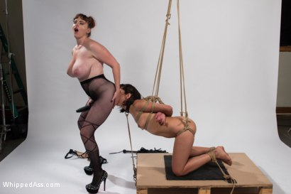 Photo number 14 from Mz. Berlin Clamps, Whips, and Double Stuffs Newbie Vivi Marie shot for Whipped Ass on Kink.com. Featuring Mz Berlin and Vivi Marie in hardcore BDSM & Fetish porn.