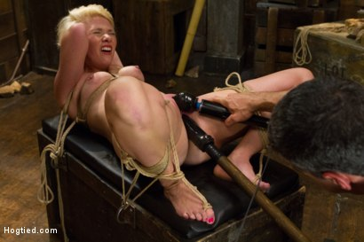 Photo number 17 from Blond College Student Tied Tight and Brutally Fucked    shot for Hogtied on Kink.com. Featuring Lexi LaRue in hardcore BDSM & Fetish porn.