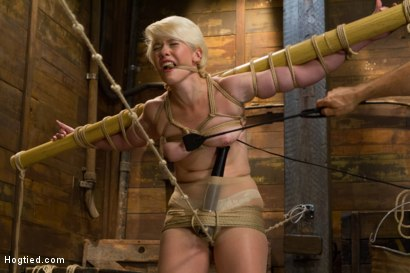 Photo number 5 from Blond College Student Tied Tight and Brutally Fucked    shot for Hogtied on Kink.com. Featuring Lexi LaRue in hardcore BDSM & Fetish porn.