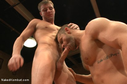 Photo number 10 from Naked Kombat's Summer Smackdown Tournament - First Semi-Final Match shot for Naked Kombat on Kink.com. Featuring Landon Conrad and Doug Acre in hardcore BDSM & Fetish porn.