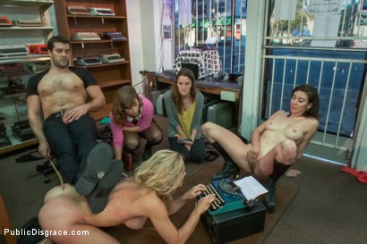 Photo number 14 from Hot blonde fucked and disgraced in a typewriter shop shot for Public Disgrace on Kink.com. Featuring Ramon Nomar and Cherie DeVille in hardcore BDSM & Fetish porn.