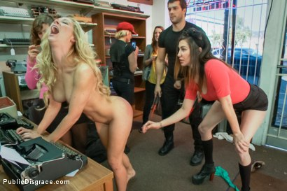 Photo number 6 from Hot blonde fucked and disgraced in a typewriter shop shot for Public Disgrace on Kink.com. Featuring Ramon Nomar and Cherie DeVille in hardcore BDSM & Fetish porn.