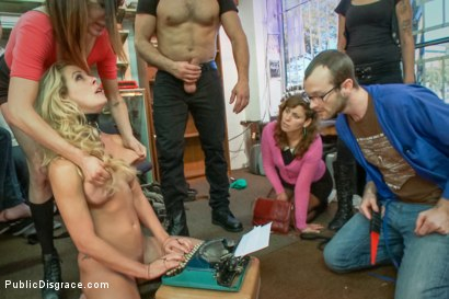 Photo number 10 from Hot blonde fucked and disgraced in a typewriter shop shot for Public Disgrace on Kink.com. Featuring Ramon Nomar and Cherie Deville in hardcore BDSM & Fetish porn.
