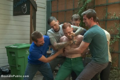 Photo number 2 from Lazy employee abused and humiliated by coworkers at Stompers Boots  shot for Bound in Public on Kink.com. Featuring Connor Maguire, Bryan Cavallo and Damien Moreau in hardcore BDSM & Fetish porn.