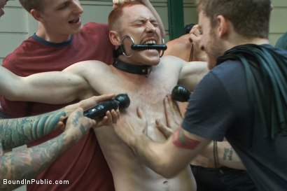 Photo number 10 from Lazy employee abused and humiliated by coworkers at Stompers Boots  shot for Bound in Public on Kink.com. Featuring Connor Maguire, Bryan Cavallo and Damien Moreau in hardcore BDSM & Fetish porn.