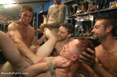 Photo number 11 from Boot shop slut abused and gang fucked by coworkers shot for Bound in Public on Kink.com. Featuring Connor Maguire, Bryan Cavallo and Damien Moreau in hardcore BDSM & Fetish porn.