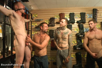 Photo number 3 from Boot shop slut abused and gang fucked by coworkers shot for Bound in Public on Kink.com. Featuring Connor Maguire, Bryan Cavallo and Damien Moreau in hardcore BDSM & Fetish porn.