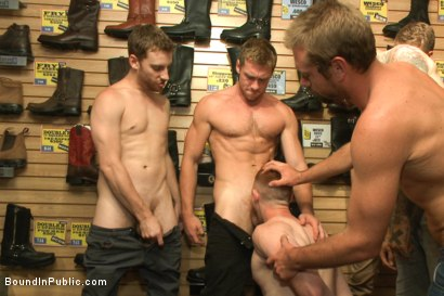 Photo number 1 from Boot shop slut abused and gang fucked by coworkers shot for Bound in Public on Kink.com. Featuring Connor Maguire, Bryan Cavallo and Damien Moreau in hardcore BDSM & Fetish porn.