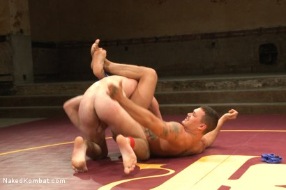 """Photo number 1 from Bryan """"The Cowboy"""" Cavallo vs Tate """"The Aussie"""" Ryder shot for Naked Kombat on Kink.com. Featuring Bryan Cavallo and Tate Ryder in hardcore BDSM & Fetish porn."""