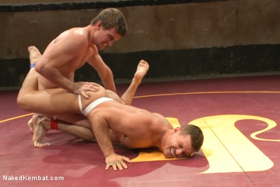 """Photo number 3 from Bryan """"The Cowboy"""" Cavallo vs Tate """"The Aussie"""" Ryder shot for Naked Kombat on Kink.com. Featuring Bryan Cavallo and Tate Ryder in hardcore BDSM & Fetish porn."""