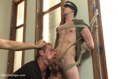 Photo number 4 from Hung stud tied up, ass fucked and made to swallow cock shot for Men On Edge on Kink.com. Featuring Tripp Townsend in hardcore BDSM & Fetish porn.