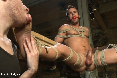 Photo number 12 from Hot dock worker taken down and his aching hard cock edged by two pervs shot for Men On Edge on Kink.com. Featuring Connor Patricks in hardcore BDSM & Fetish porn.