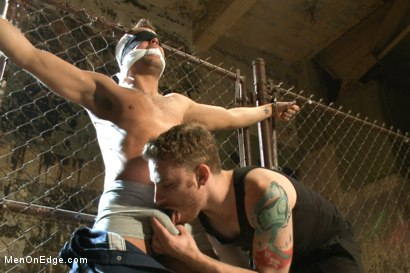 Photo number 3 from Hot dock worker taken down and his aching hard cock edged by two pervs shot for Men On Edge on Kink.com. Featuring Connor Patricks in hardcore BDSM & Fetish porn.