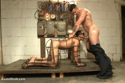 Photo number 2 from Creepy handyman choke fucks an unwilling student in bondage shot for Bound Gods on Kink.com. Featuring Rico Romero and Trenton Ducati in hardcore BDSM & Fetish porn.