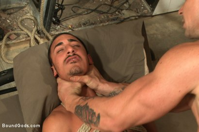 Photo number 13 from Creepy handyman choke fucks an unwilling student in bondage shot for Bound Gods on Kink.com. Featuring Rico Romero and Trenton Ducati in hardcore BDSM & Fetish porn.