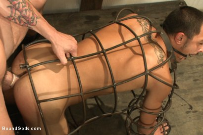 Photo number 7 from Creepy handyman choke fucks an unwilling student in bondage shot for Bound Gods on Kink.com. Featuring Rico Romero and Trenton Ducati in hardcore BDSM & Fetish porn.