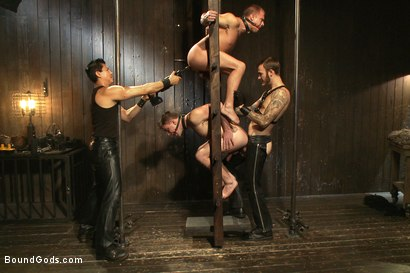 Photo number 4 from A pain slut and a newcomer - Live Show shot for Bound Gods on Kink.com. Featuring Van Darkholme, Christian Wilde, Doug Acre and Eli Hunter in hardcore BDSM & Fetish porn.